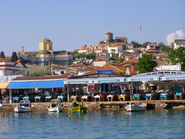 Fish Restaurants along the Quay in Cunda.
